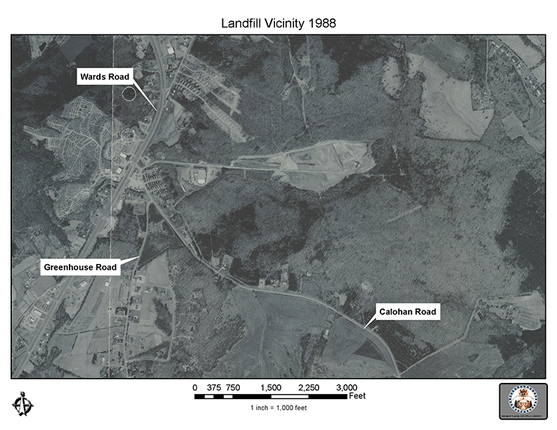 Aerial view and map of the Campbell County Landfill Site in 1988 - 72 dpi