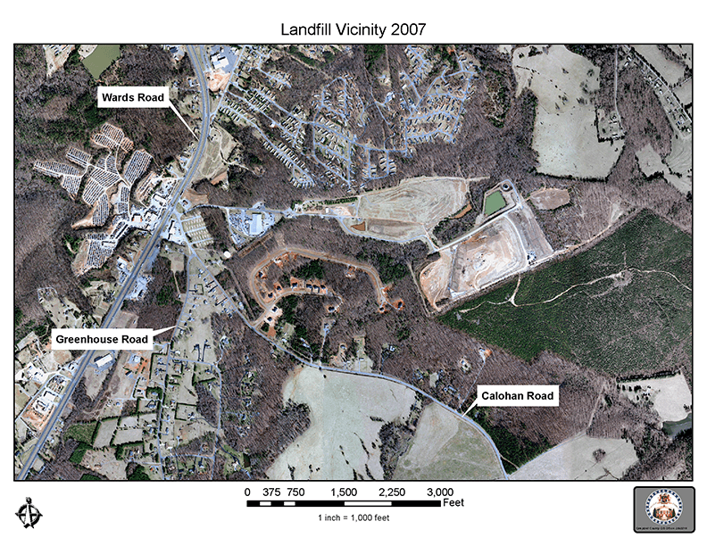 Aerial view and map of the Campbell County Landfill Site in 2007-72 dpi