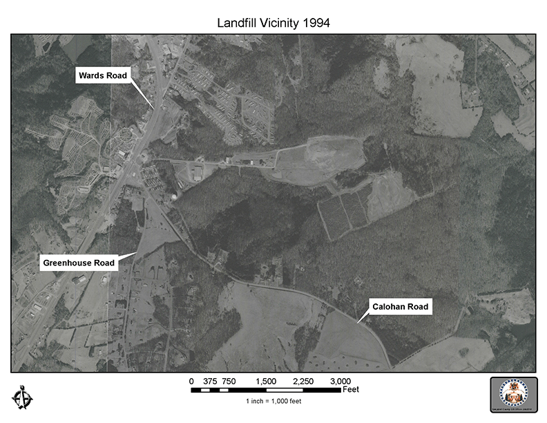 Aerial view and map of the Campbell County Landfill Site in 1994-72 dpi