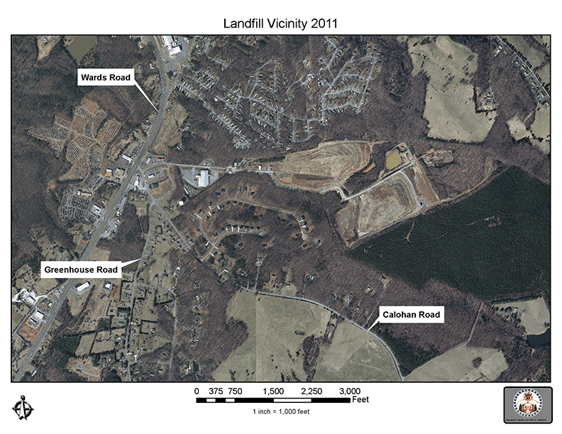 Aerial view and map of the Regional Landfill site in 2011- 72 dpi