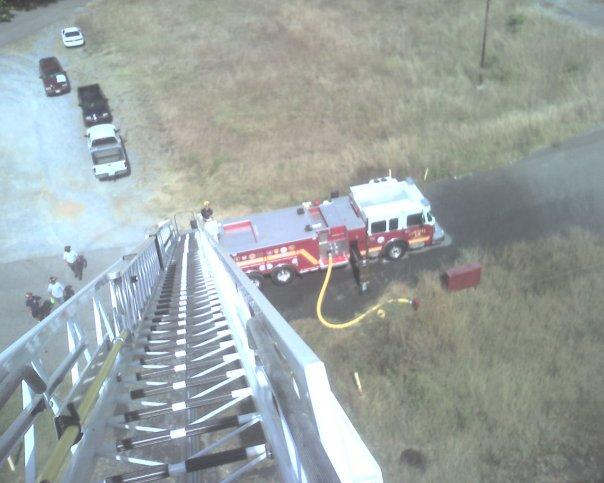 The view looking down from a ladder truck